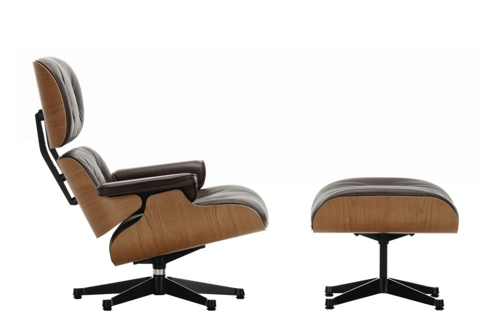 Vitra Chalres Eames : Vitra eames lounge chair & ottoman american cherry shell leather