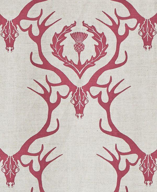 Deer Damask Fabric  by Barneby Gates