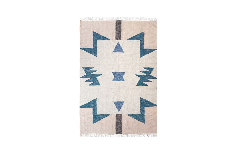 Kelim Rug, Blue Triangles - Large by ferm LIVING