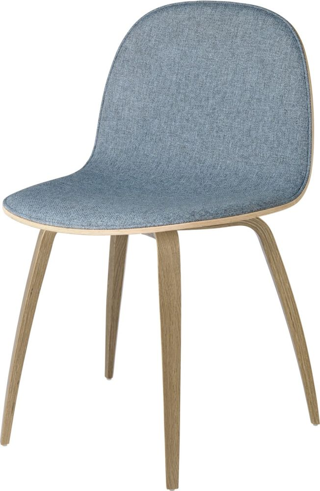 2D Dining Chair Wood Base - Front Upholstered by Gubi