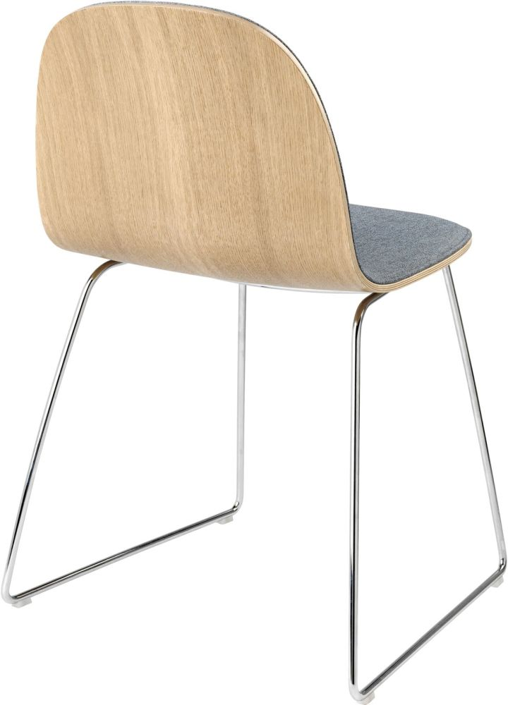 2D Sledge-Base Dining Chair Front Upholstered by Gubi