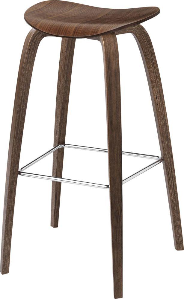 Gubi 2D Wood Base Bar Stool - Unupholstered by Gubi