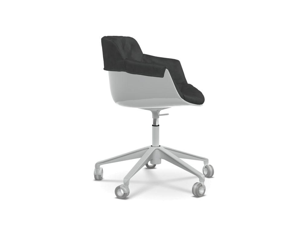Flow Slim Chair Adjustable Height, 5-Point-Star Base Padded XL by MDF Italia