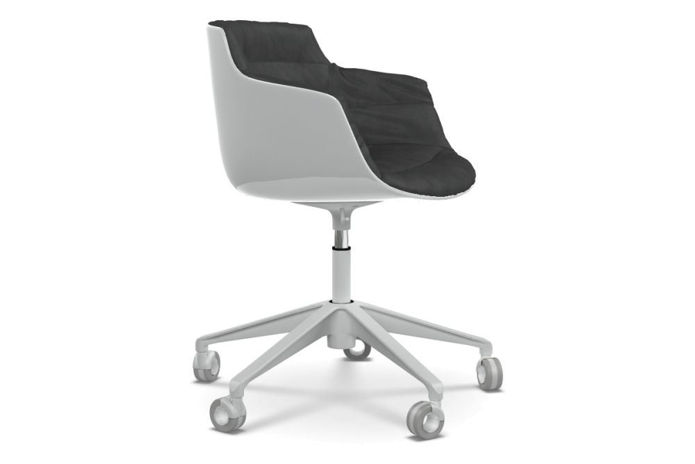 Flow Slim Chair, Adjustable Height, Star Base with Castors, Padded by MDF Italia