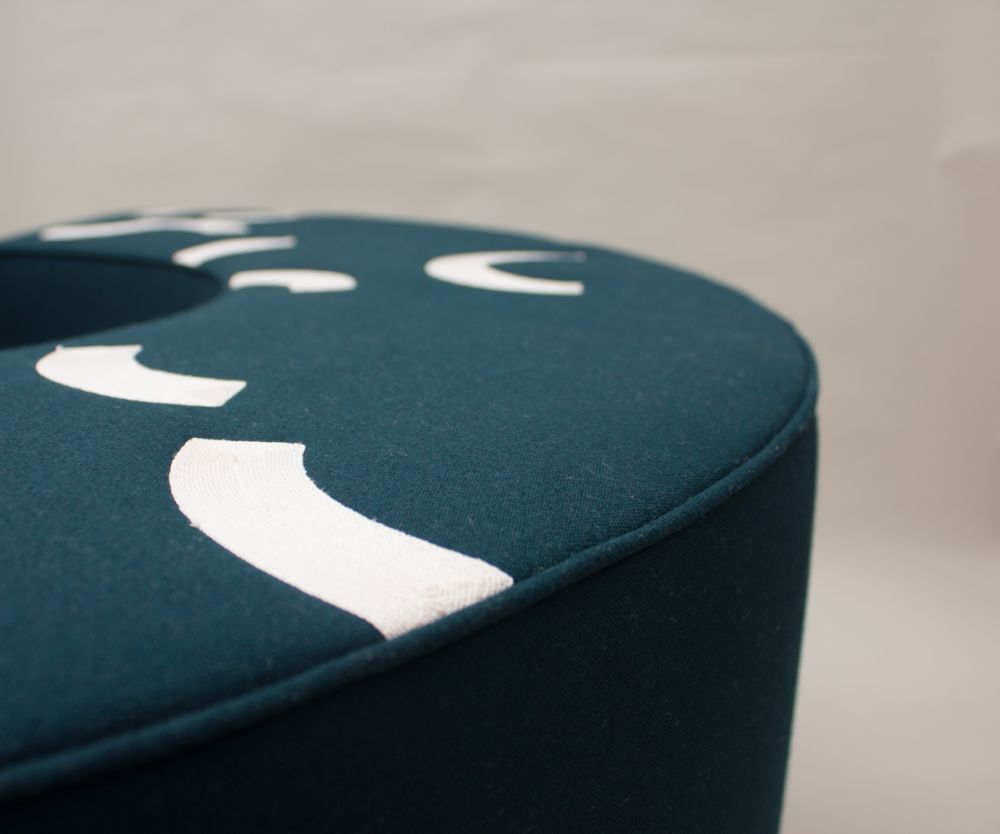CONTOUR EMBROIDERED ARC STOOL   CARDINAL by CUSTHOM
