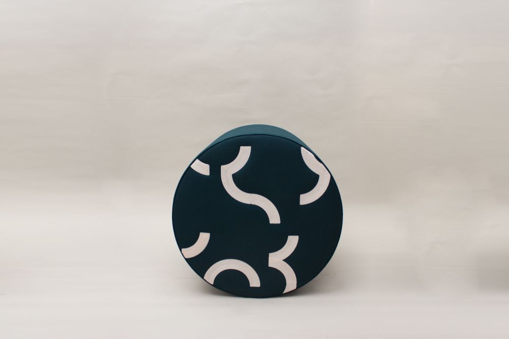 CONTOUR EMBROIDERED ROUND STOOL  by CUSTHOM