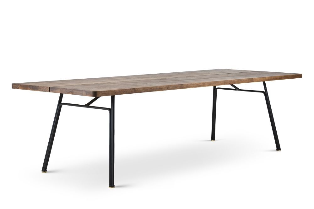 Plank 90 Cm.Corduroy Plank Dining Table Wild Oak Oil Treatment Powder Coated