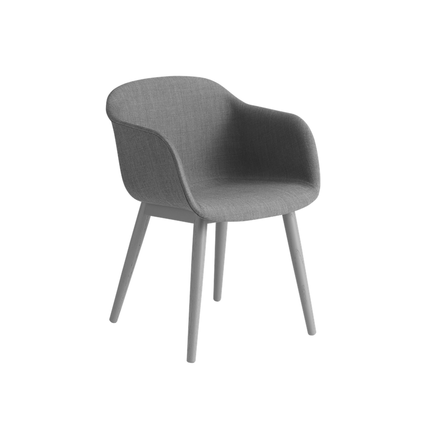 Fiber Armchair Front Upholstery - Wood Base by Muuto