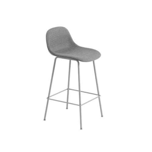 Fiber Bar Stool With Backrest Tube Base - Upholstered by Muuto