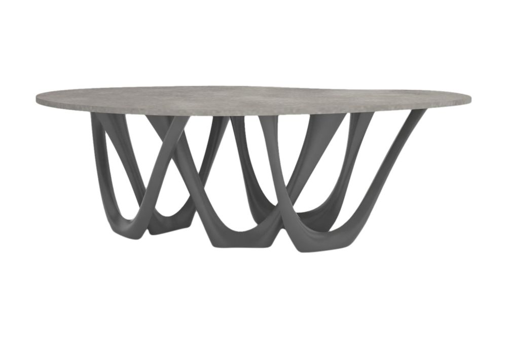 G-Table with Powder Coated Base and Concrete Top by Zieta