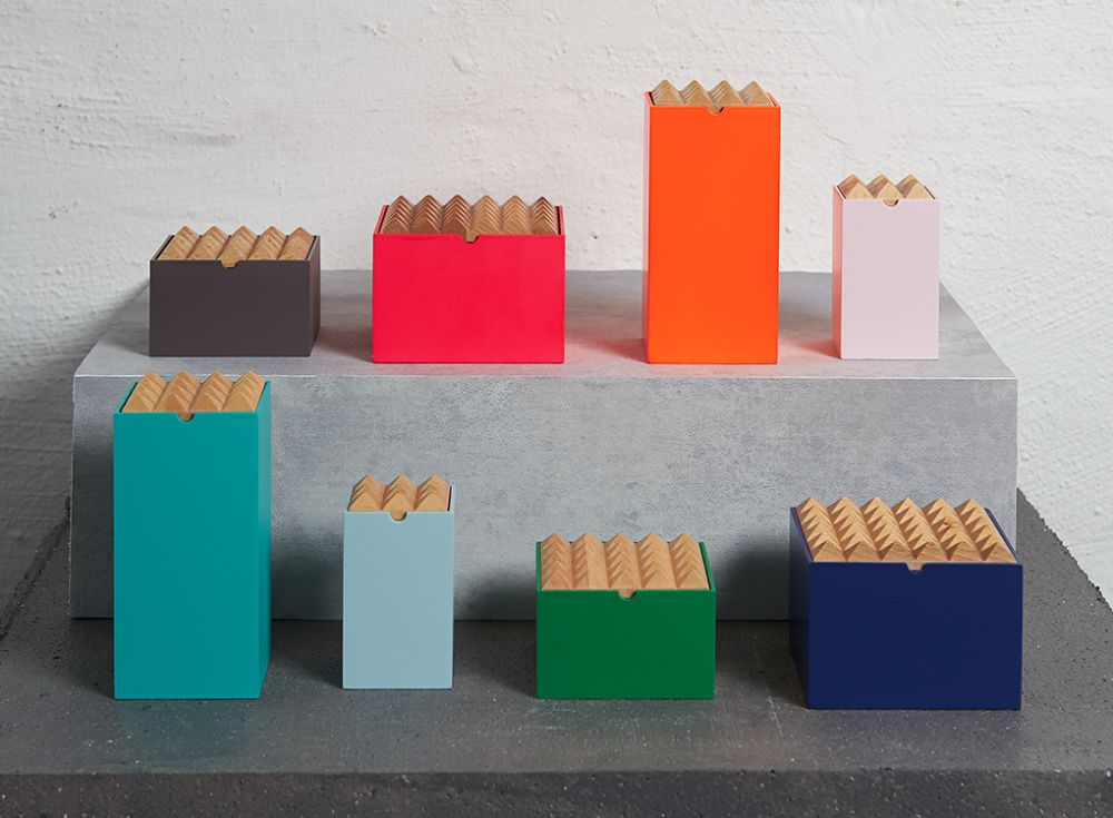 Colourful storage Pyramid boxes by Korridor