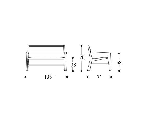 Aruba design wood sofa by Varaschin by Varaschin