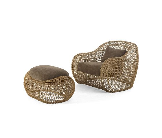 Balou Easy Armchair with Ottoman by Kenneth Cobonpue by Kenneth Cobonpue