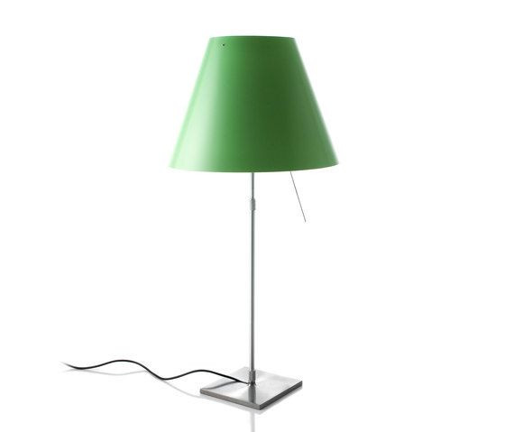 Costanza table on/off switch, Alu Base, Comfort Green Shade by LUCEPLAN