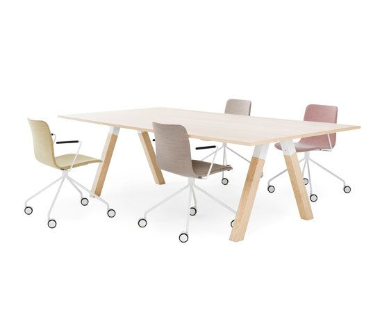Frankie conference table wooden A-leg wood by Martela Oyj by Martela Oyj