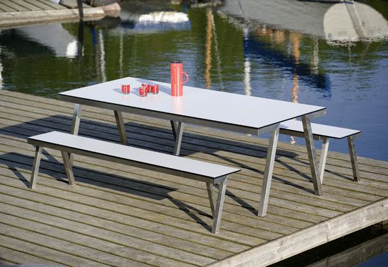 H 840 VA Table & H 841 Concept 47 Bench by Hansen by Hansen