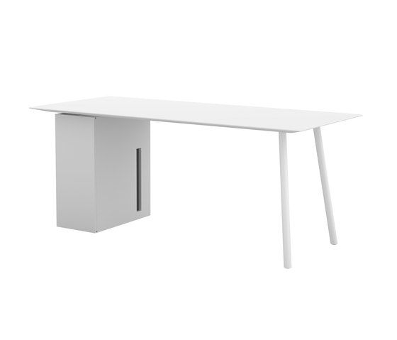 Maarten table 180x80cm with storage unit by viccarbe by viccarbe