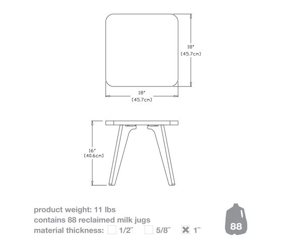 Satellite End Table square 18 by Loll Designs by Loll Designs