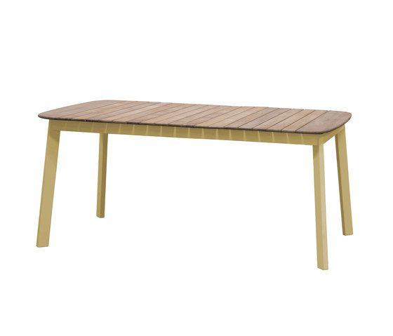Shine rectangular table with teak top; 166x100cm top by EMU
