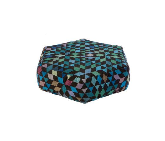 Triangles Pouf Diamond medallion blue-green low by GOLRAN 1898 by GOLRAN 1898
