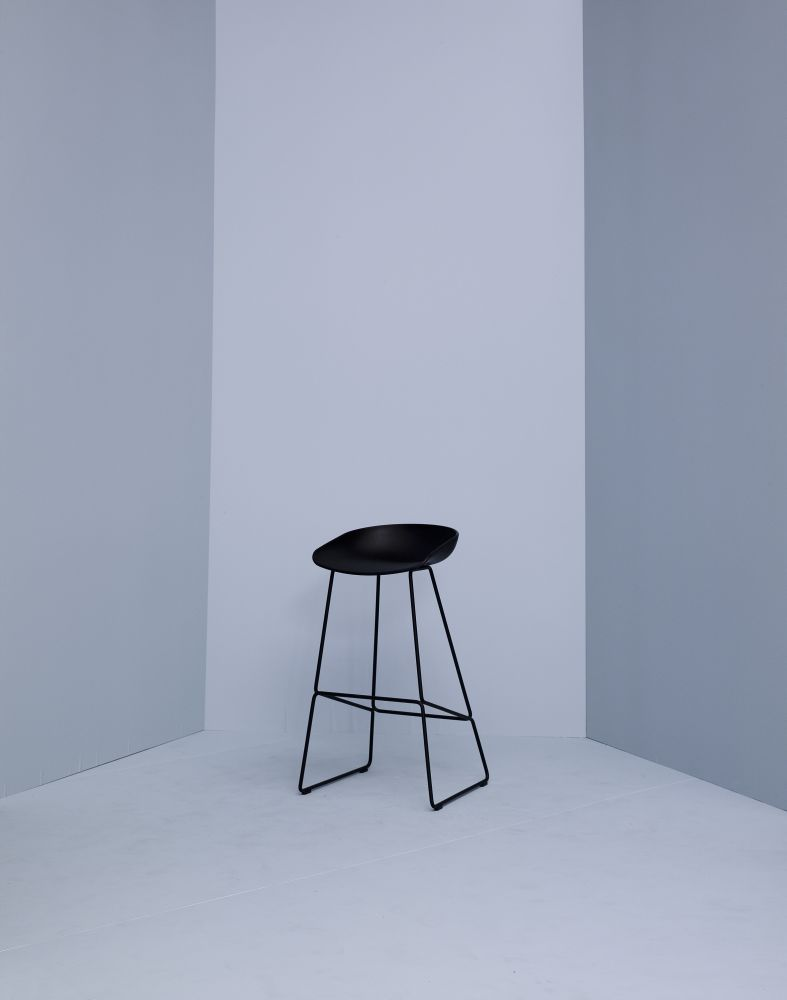 About A Stool Aas38 White Seat And Black Base High By Hay