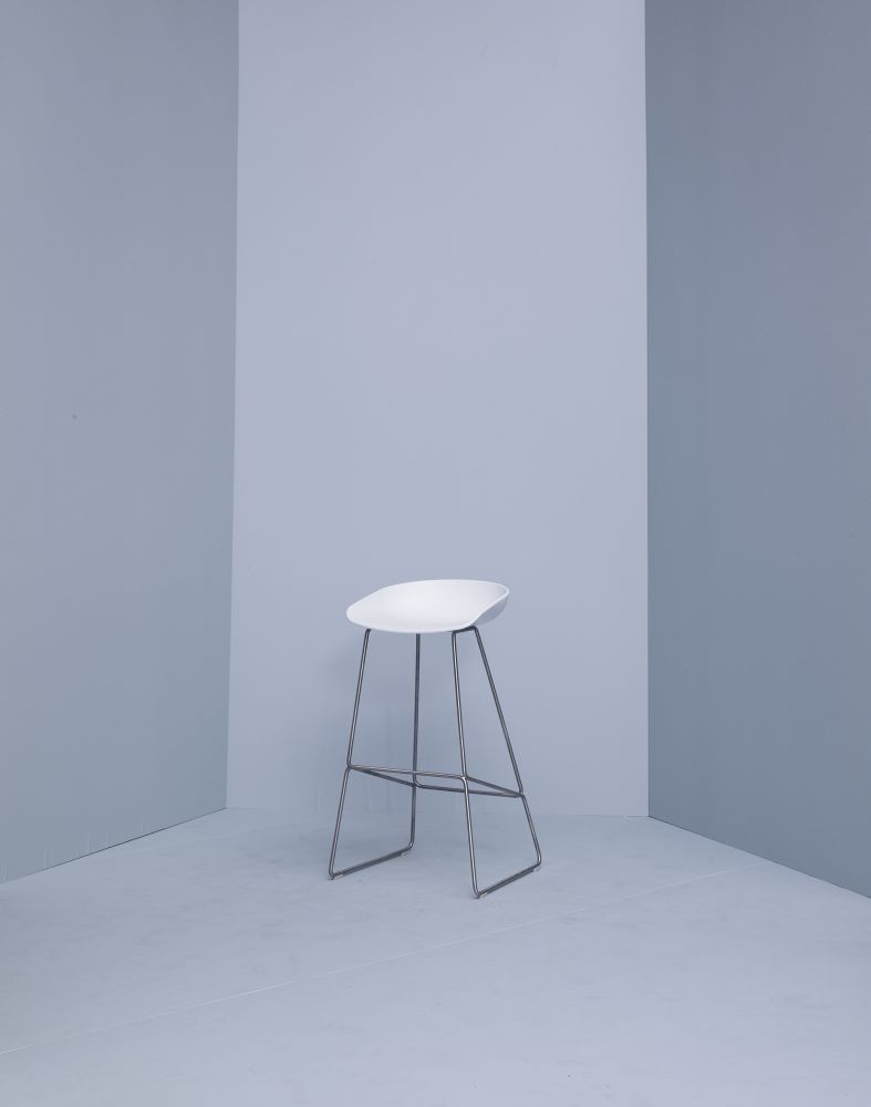 About A Stool Aas38 Dusty Blue Seat And White Base Low By Hay