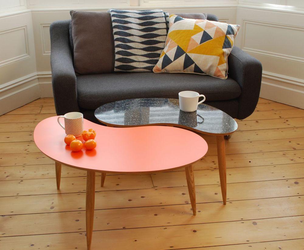 Bean tables in Orange and Sparkled Black