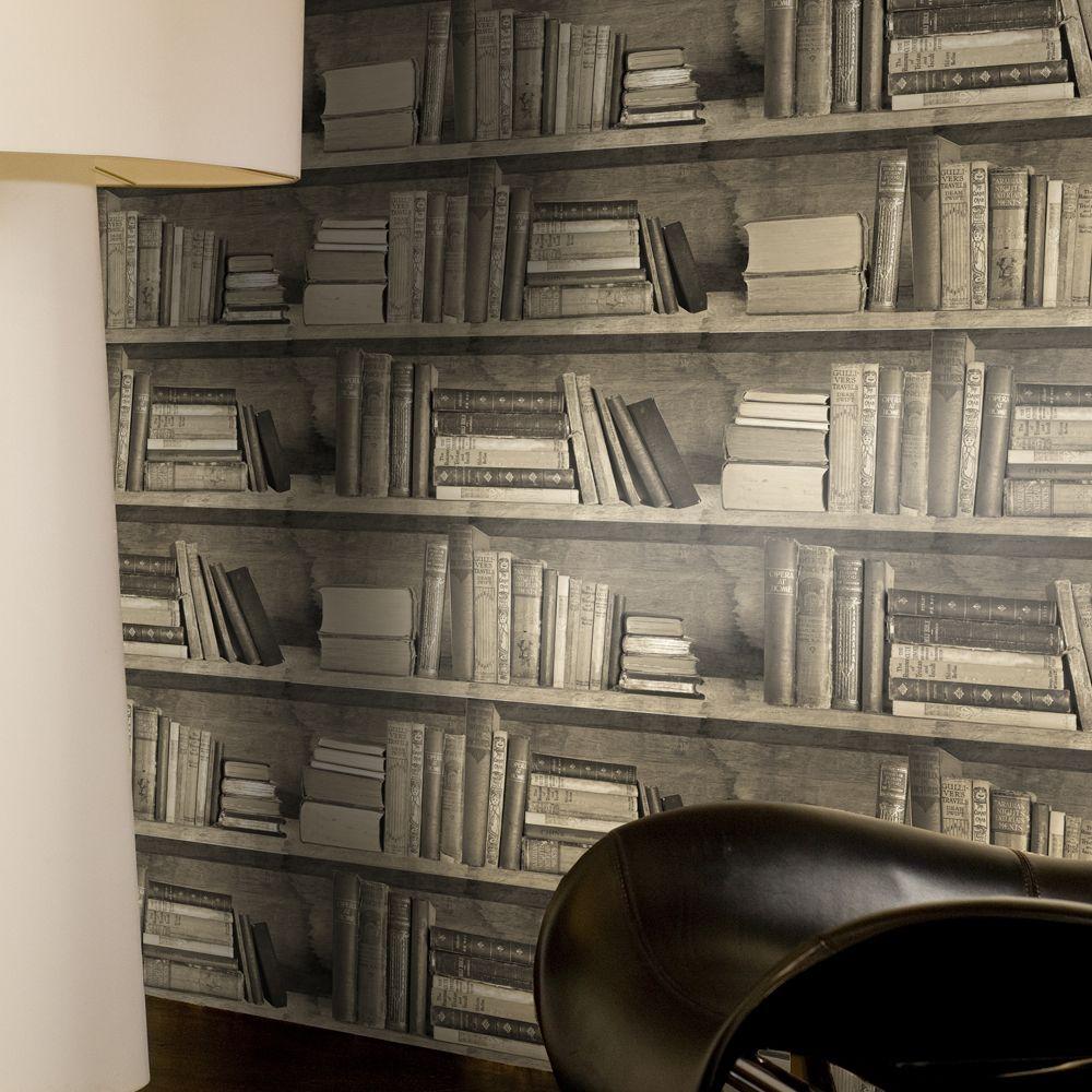 Sepia Bookshelf Wallpaper