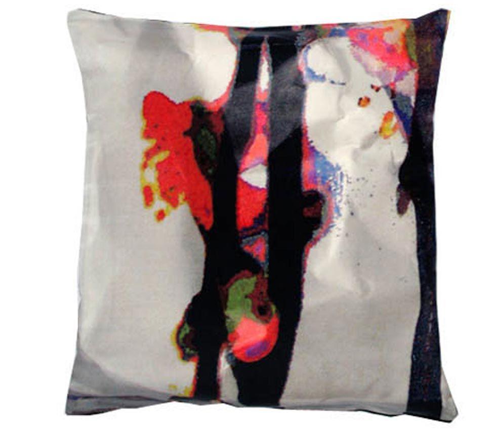 Bright Cherry Blossom Square Satin Cushion by Suzanne Goodwin