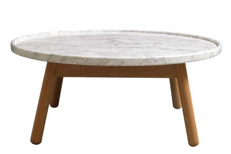 carve round coffee table oak base, white topbethan gray