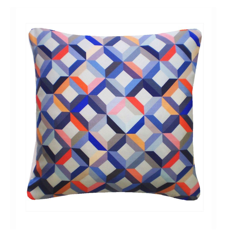 Chevron Printed Square Cushion  by Nitin Goyal London