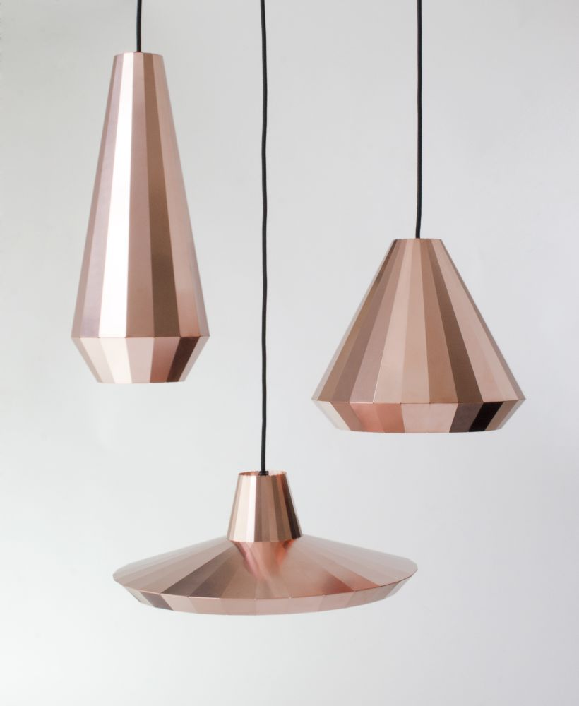 Cl 25 copper pendant light by david derksen design simply by folding a thin copper sheet can be used to construct stable forms aloadofball Gallery