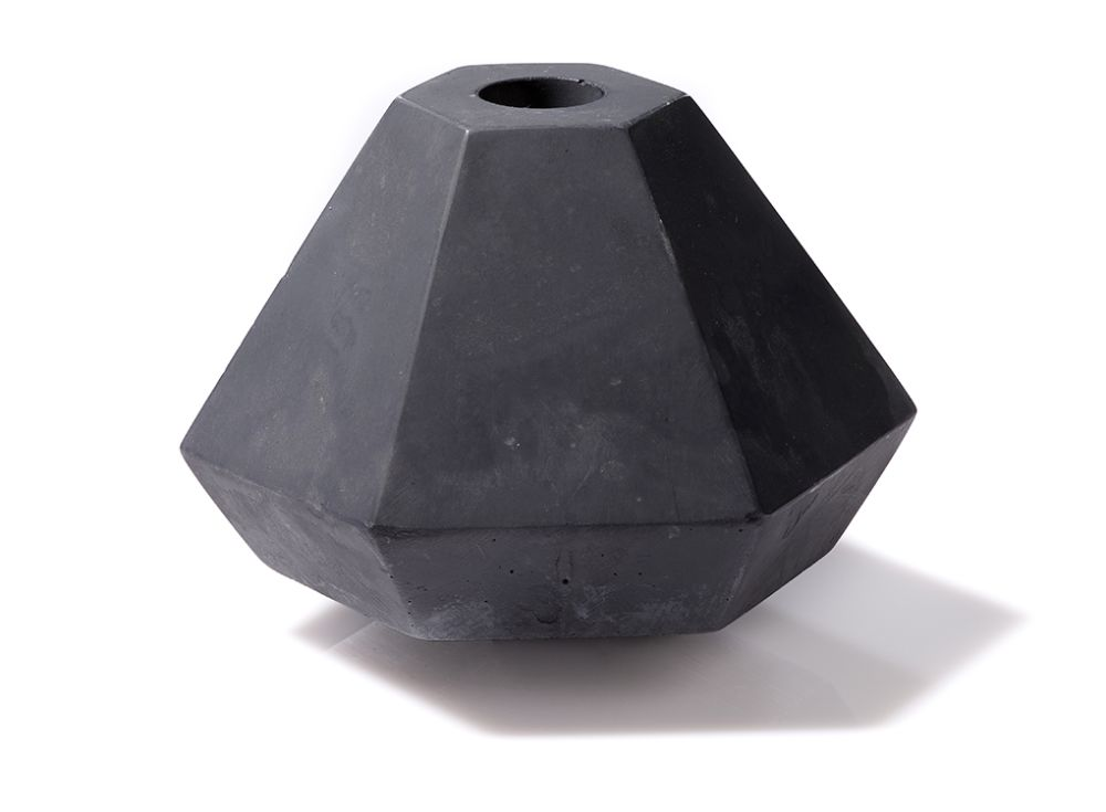 Geometric Concrete Candle Holder in Short Black by Korridor
