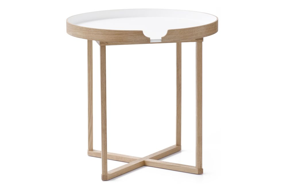 Damien Round Side Table White by Lincoln Rivers for Wireworks