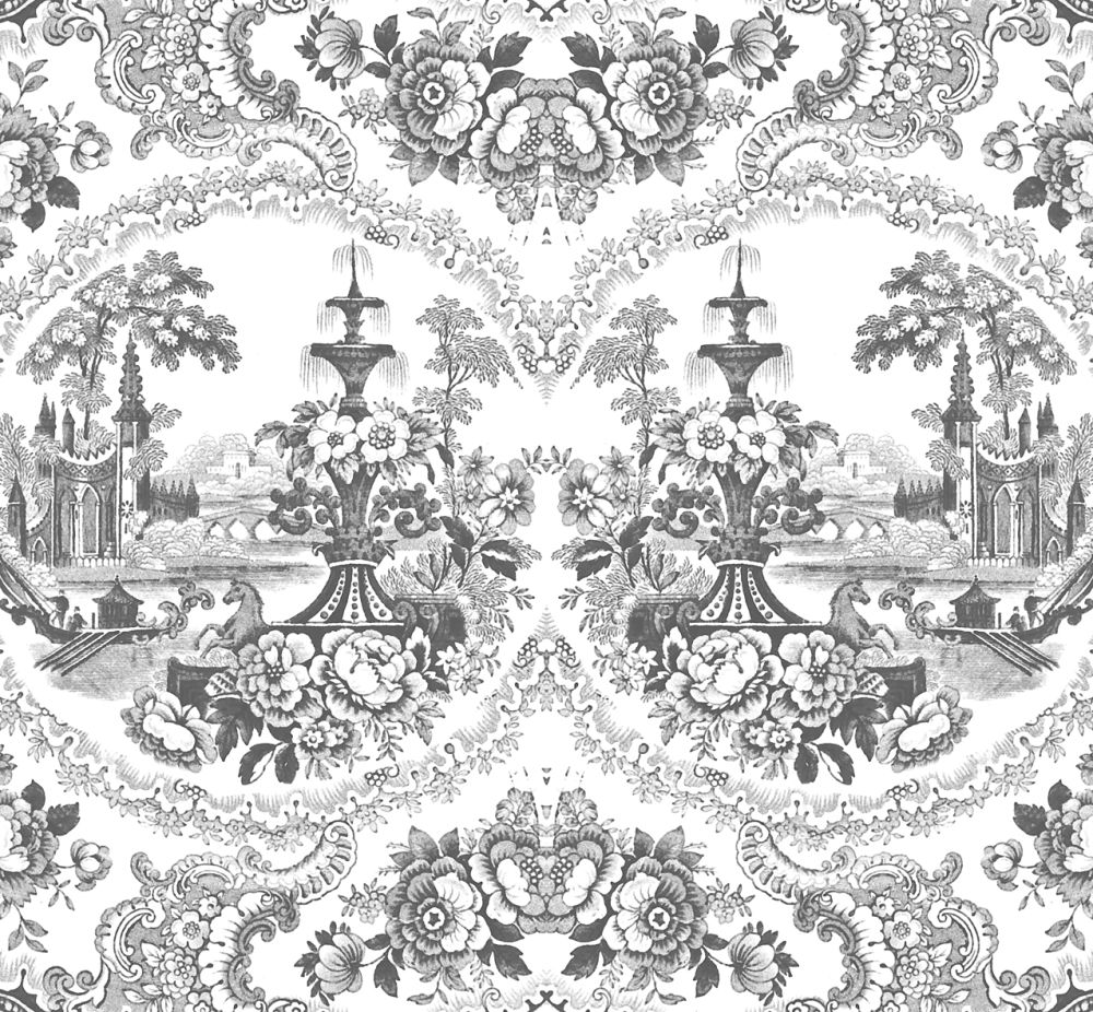 Black - Delft Baroque Wallpaper