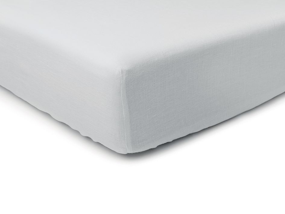 dove grey linen fitted sheet