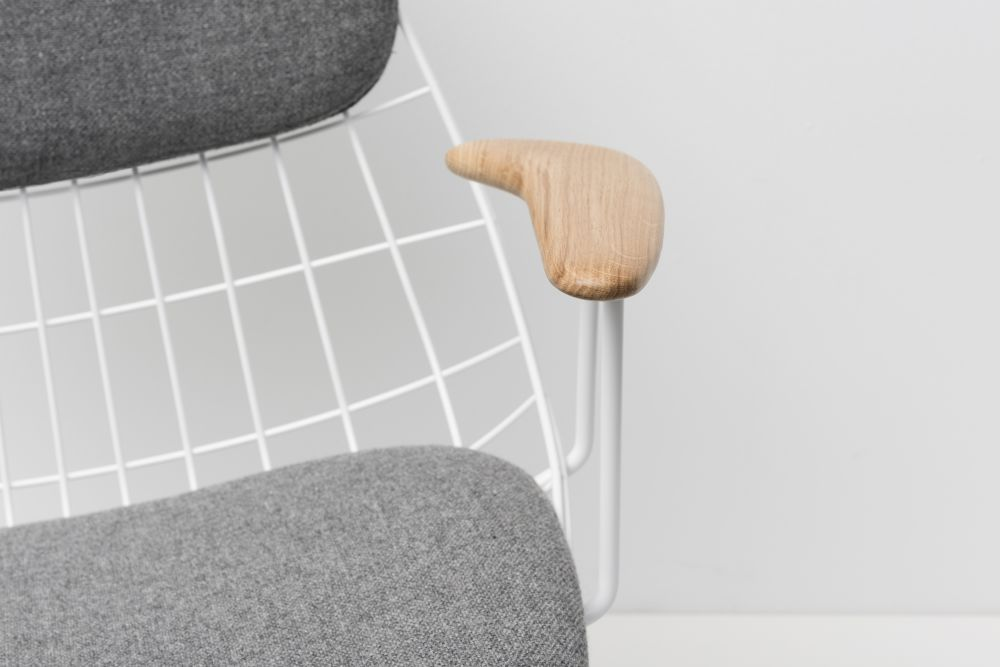 FM06 Dining Chair with Back Cushion, Paper White Frame and Solid Oak Arms by Pastoe