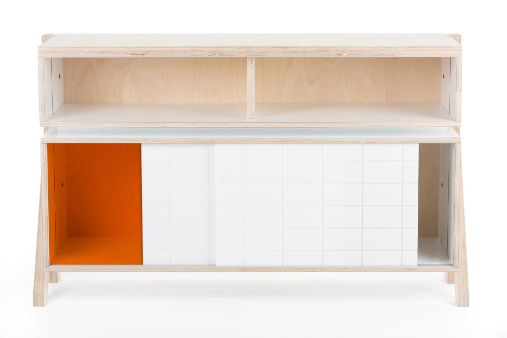 Frame Sideboard 02 Small - Snow White with orange transparent door