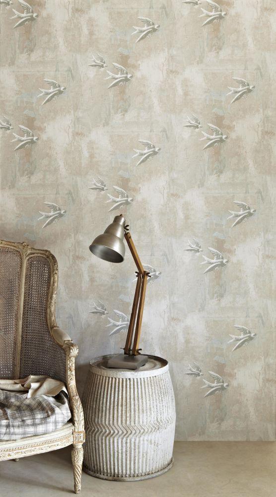 Fresco Birds Wallpaper  by Barneby Gates