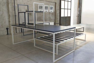 Collection Of Square Or Rectangular Tables Designed In 1964, Square Metal  Tube Base Design With A Wooden Top, Matt Lacquered In White Or Anthracite  Colors.