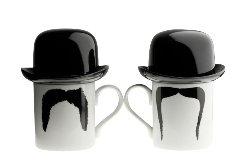 Fu Magnum Moustache Mug with Sugar Bowl Top Hat by Peter Ibruegger Studio