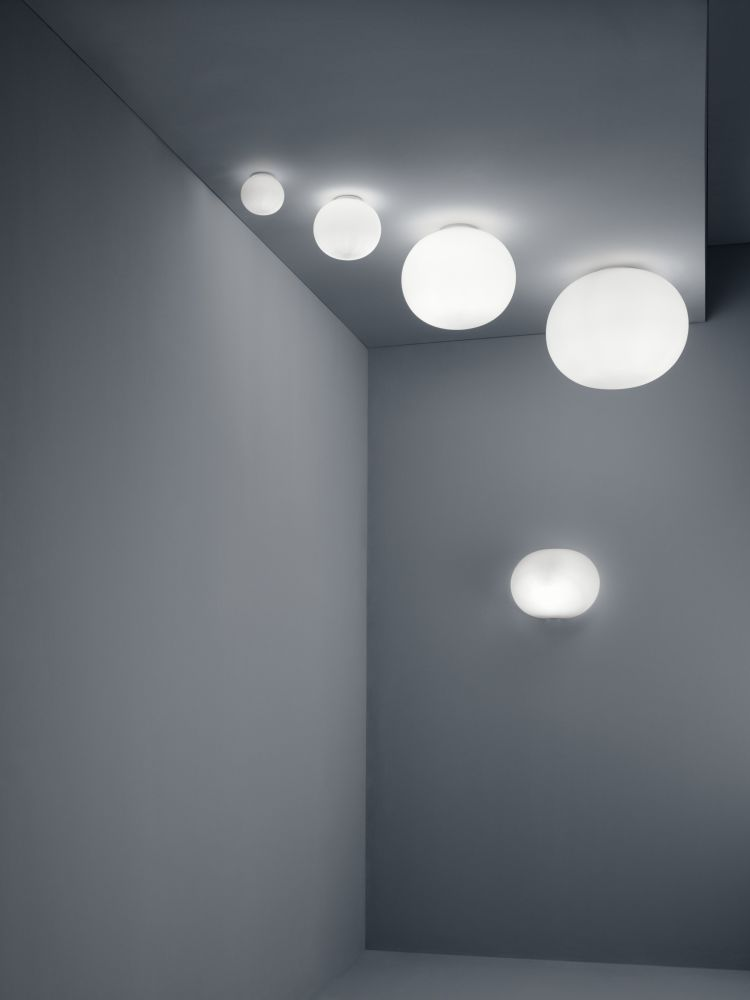 Glo ball cw zero ceiling light by jasper morrison for flos a sophisticated wall or ceiling lamp that provides diffused light reminiscent of the moon aloadofball