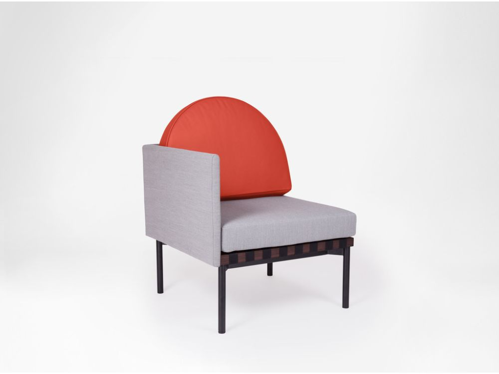 Grid - Armchair with one side Armrest With Round Cushion by Petite Friture