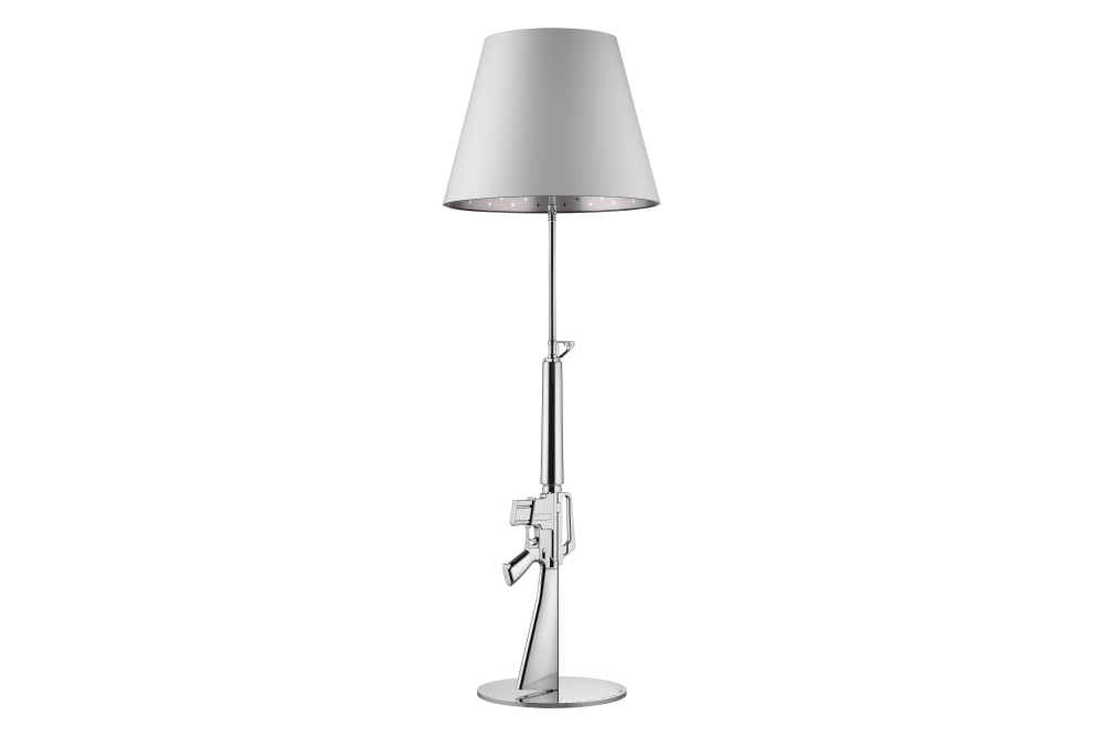 Guns floor lamp shiny gold 18 k by philippe starck for flos chrome mozeypictures Gallery