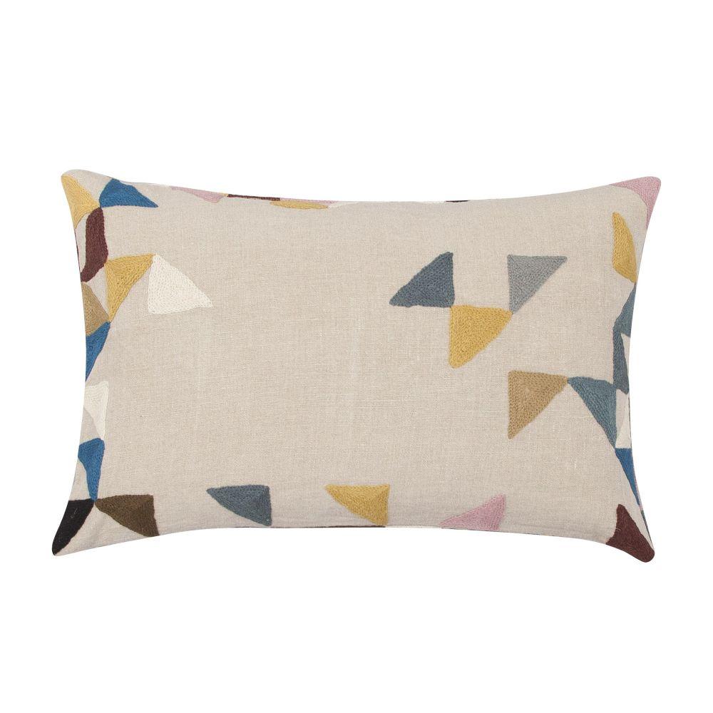 Harlequin Rectangular Linen Cushion by Niki Jones