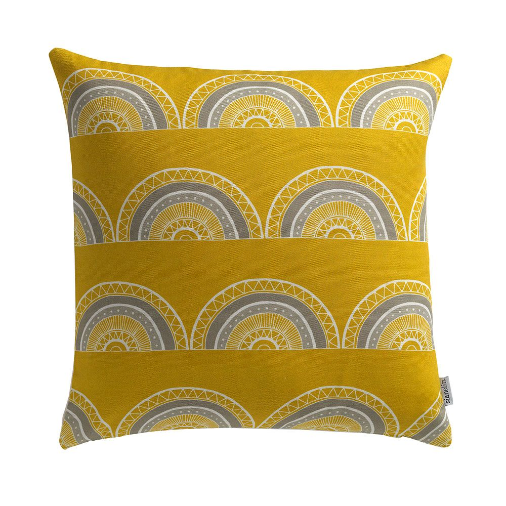 Horseshoe Arch (Yellow) Cushion by Sian Elin