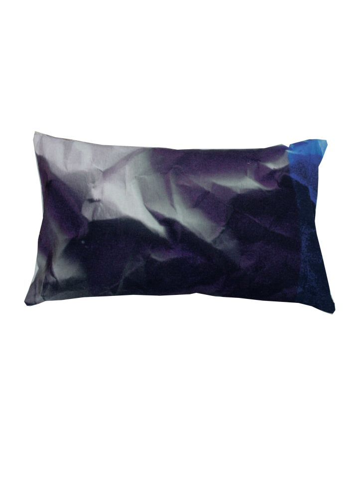 Indigo Crinkled Paper Print Rectangular Cushion by Suzanne Goodwin