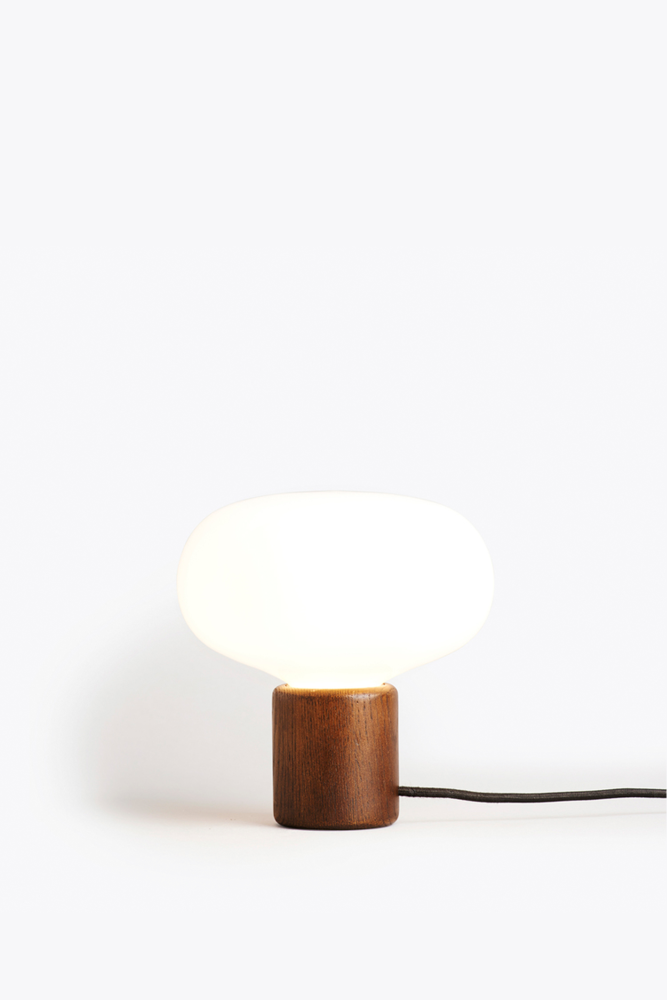 Karl Johan Table Lamp Smoked Oak White Opal Glass By New