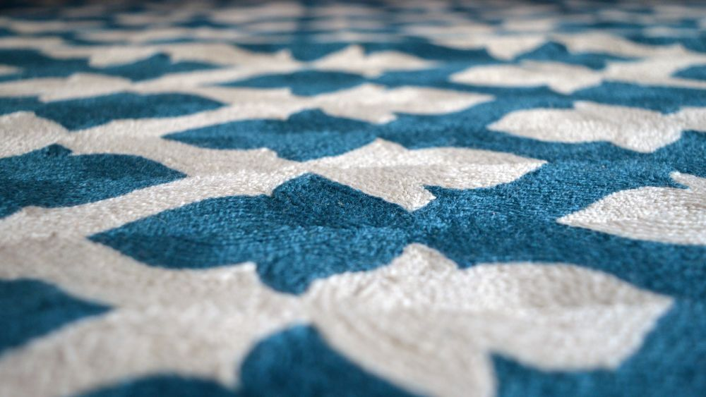 Lattice Crewel Rug Detail