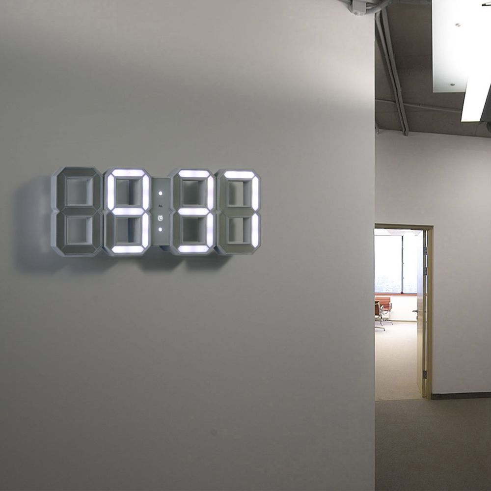 Original kibardin white white digital led clock by kibardindesign a modern 3d interpretation of the traditional digital clock amipublicfo Gallery